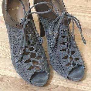 Aerin Claremont Peep Toe Lace Up Ankle Booties